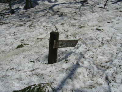 雪に埋もれた五湖行先板