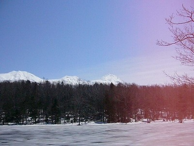 五湖からの知床連山