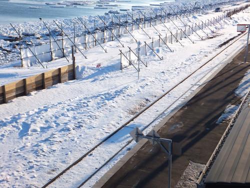 線路脇には、オホーツク海